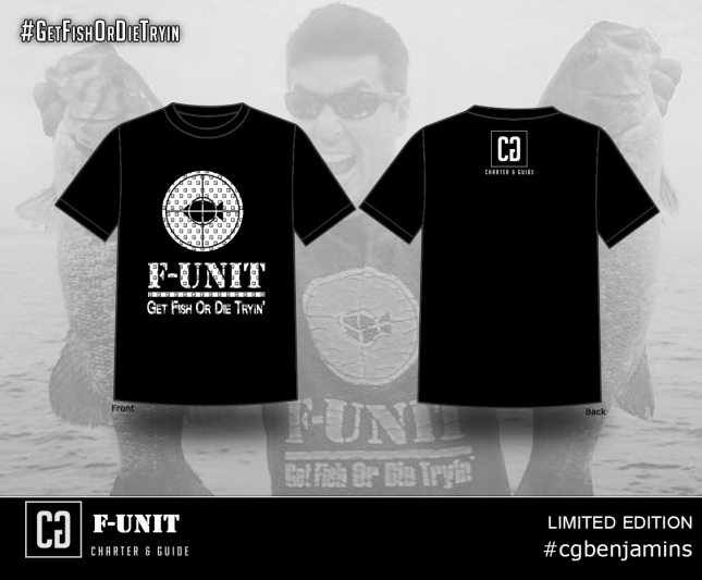 F-Unit Clothing and Charter and Guide are teaming up for limitied edition t shirts : #cgbenjamins #reelhasrecognizedreel #fishunitclothing #getfishordietryin #gfodt #tieup